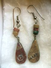 Women's Earrings, Agate, Semi-Precious, Carved, Hand-Crafted, Unique