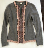 Nanette Lepore Zip Up Cardigan Size Small Grey With Pink Ruffles