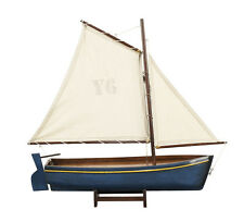 Authentic Models Gaff Rigged Wooden Sailing Boat Yacht Model Blue 45cm