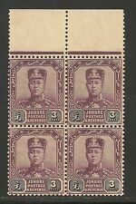Malaya - Johore #78 VF MNH Block of 4 - 1912 3c Sultan Ibrahim