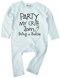 """Funny Baby Romper """"Party My Crib 2am Bring a Bottle"""" Boy Girl Clothes Gift"""