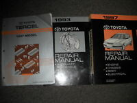 1997 TOYOTA TERCEL Service Shop Repair Manual SET OEM W EWD & TRANSAXLE Factory