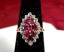 BEAUTIFUL 14K YELLOW GOLD GENUINE MARQUISE RUBY & DIAMONDS CLUSTER RING SIZE 6