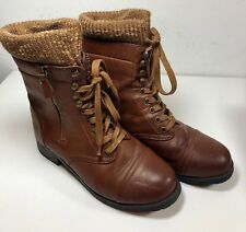 Bamboo Brown Women's Sweater Cuff Combat Boots Lace Up Zip Size 8.5