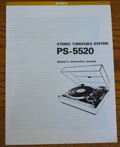 Sony PS-5520 Turntabe System Instruction Manual - 9-Pages - PERFECT
