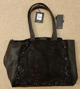 Nine by Savannah Miller - Black leather beaded shopper bag RRP £85