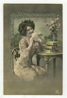 c 1912 Pin Up Young PRETTY LADY tinted French photo postcard