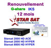 Solution renouvellement G-share 12 mois starsat 2000 hyper-8800 hyper-Géant 2500