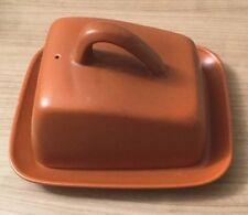 Vintage Retro Honiton Pottery Burnt Orange Butter Dish