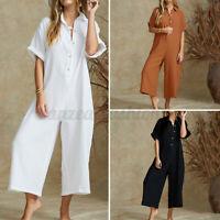 Mode Femme Combinaison Boutons Manche Courte Coton Loisir Ample Pantalons Plus