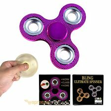 Pink Fidget Spinner Hand Toy BLING Stress Relief Focus Metallic ADHD Anxiety