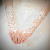 Bridal Wedding Costume Dress Fingerless Long Gloves Crystal Sequins Lace Satin