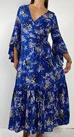 JAASE Blue Floral Print Ruffle Bell Sleeve Wrap Maxi Dress Size S AU 8-10 Boho