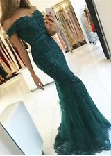 Dark Green Mermaid Evening Gowns Off-the-Shoulder Lace Appliques Prom Dresses