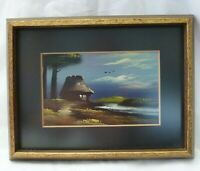 Framed Miniature Landscape Oil Painting of River Pines House POSTCARD 1920's pp