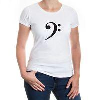 Damen Kurzarm Girlie T-Shirt Bassschlüssel F-Schlüssel Musiknoten Musik music