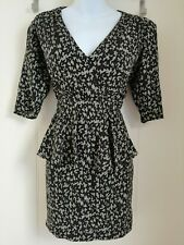 Whistles Dress Size 10 animal print Peplum Silk Leopard Plunge 3/4 Sleeves