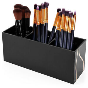 3 Slot Cosmetics Black Acrylic Makeup Brush Holder Organizer Box Storage Solutio