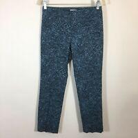 J Jill Pants Women Size 2P Petite Blue Paisley Straight Leg