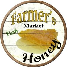 "Farmers Market Honey 12"" Round Metal Kitchen Sign Novelty Retro Home Wall Decor"
