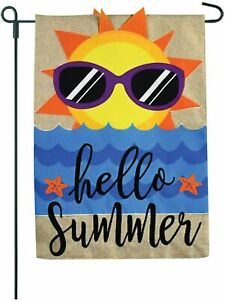 Beach Garden Yard Flag- Hello Summer - Home Garden Flag On Burlap-12x18 2 Sided