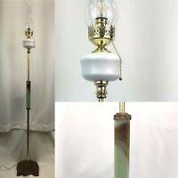 Antique Vtg Art Deco Floor Lamp Vaseline Glass GLOWS, Milk Glass Brass Hurricane