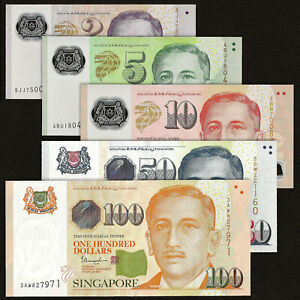 SINGAPORE 2 5 10 50 100 DOLLARS SET 5 PCS 2015-2020 P-46 47 48 49 50 UNC