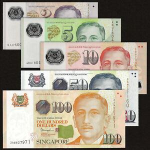 SINGAPORE 2 5 10 50 100 DOLLARS SET 5 PCS 2015-2020 P-46 47 48 49 50 UNC