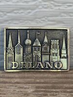 SBD State Bank Delano Minnesota Vintage Brass Rectangle Belt Buckle 7 Churches