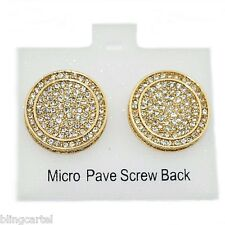 Huge 19MM Round Hip Hop Earrings Iced-Out Gold Tone Screw Back Micro Pave Bling