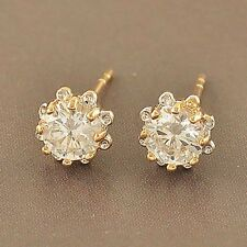 Vintage Gold Filled Ear earings Womens Cute Small Flower Stud Earrings statement