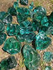 Glass slag Genuine Artisan stone Turqoise emerald style 3-15lbs+  Landscaping+