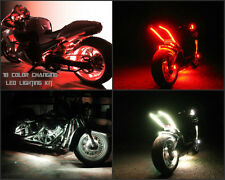 8pc 18 Color 5050 SMDRGB Wireless Remote Grom Motorcycle Under Body Led Glow Kit