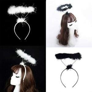 Angel Halo Headband - Black Or White - Costume Hen Party Christmas Nativity Xmas