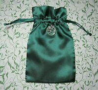 """Tarot Rune Gift Bag Fairy and Moon Charm Forest Green 5"""" x 8"""""""