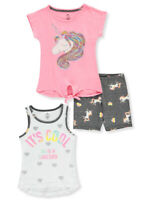 One Step Up Girls' Glitter Unicorn 3-Piece Shorts Set Outfit