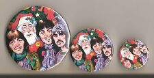 BEATLES CHRISTMAS BADGES, THREE SIZES, ONE PRICE! NEW FOR CHRISTMAS.