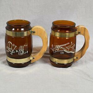 Lot Of 2 Siesta Ware Western Barrel Cowboy Wooden Handle Beer Mug Cup Vintage