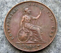 GREAT BRITAIN QUEEN VICTORIA 1853 FARTHING, COPPER HIGH GRADE