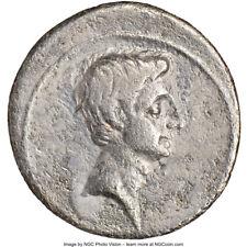 Roman Imperatorial Octavian AR Denarius c.30-29BC Italy Mint rev Quadriga, NGC F