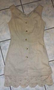 Schönes Damen Kleid Rene Derhy  Gr.S  , beige Leinenstoff