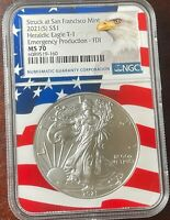 2021 (S) Emergency Heraldic Silver Eagle NGC MS 70 Flag Core First Day of Issue