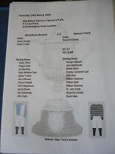 1884 FA Cup Final Blackburn Rovers v Queens Park matchsheet
