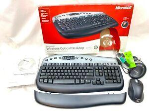 LikeNEW 2003 Microsoft Wireless Optical Desktop Keyboard Mouse w/ Tilt Wheel EUC