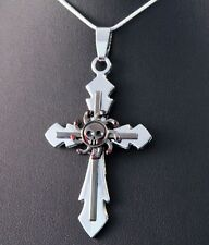 Stainless Steel Black Skull Cross Pendant Chain/Necklace w/Free Jewelry Box/Ship