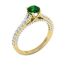 14K Yellow Gold Natural Gemstone Ring 0.71 Ct Real Diamond Emerald Rings Size