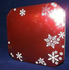Delacre Ensemble Assorted Biscuits Cookies Tin - Square Red with Snowflakes