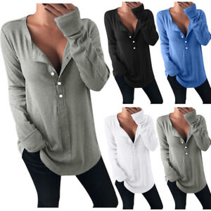 Womens Casual Long Sleeve Pullover Tops Ladies Button V Neck T Shirt Blouse UK