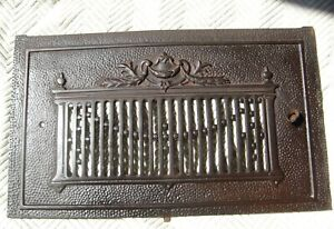"""Antique Cast Iron Fireplace Hearth Grate Cover 20.5"""" x 12"""" Signed """"OC"""""""