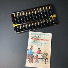 "Vintage 16"" Wooden Abacus, w/The Fundamental Operations in Bead Arithmetic book"